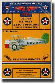 Yellow Wings Decals  1/32 Curtiss BF2C-1 Bi-Plane Fighter/Bomber VF-5B USS Ranger YWD32008