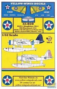 Yellow Wings Decals  1/32 OS2U-1 OS2U-2 Kingfisher USS Maryland / VS-2D1 / Sitka AK YWD32020
