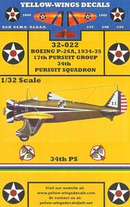 Yellow Wings Decals  1/32 1934-35 USAAC P-26A Peashooter 17th Pursuit Group/34th Prusuit Sq. Thunderbirds YWD32022