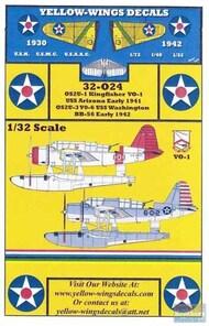 Yellow Wings Decals  1/32 OS2U-1 OS2U-3 Kingfisher USS Arizona / USS Washington YWD32024