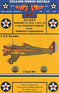 Yellow Wings Decals  1/32 1934-35 USAAC P-26A Peashooter 17th Pursuit Group/73rd Pursuit Sq. California Golden Bears YWD32033