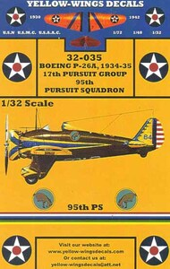 Yellow Wings Decals  1/32 1934-35 USAAC P-26A Peashooter 17th Pursuit Group/95th Pursuit Sq. Kicking Mules YWD32035