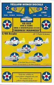 """Yellow Wings Decals  1/48 SBD-2 Dauntless BuNo 2106 """"Midway Madness"""" YWD48059"""