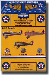 Yellow Wings Decals  1/48 USAAC Boeing P-26A Peashooter YWD48072