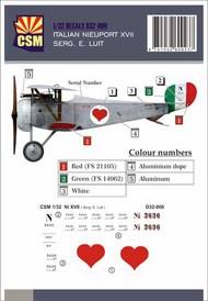 Italian Ace -  Nieuport 17 Serg. E. Luit #CSMD32-006