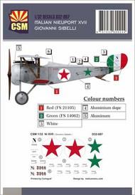 Italian Ace -  Nieuport 17 Giovanni Sibelli #CSMD32-007