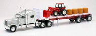 NewRay Diecast  1/32 Peterbilt 389 w/Flatbed Trailer, Farm Tractor & Hay Load (Die Cast) NRY10293