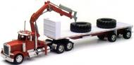 Peterbilt 379 w/Flatbed Trailer, Crane & Big Tires (Die Cast) #NRY14343