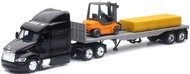 NewRay Diecast  1/43 Peterbilt 387 w/Flatbed Trailer, Forklift & Hay Bale Load (Die Cast) NRY15123