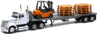NewRay Diecast  1/43 Int'l Lonestar Flatbed Trailer w/Forklift & Pallets (Die Cast) NRY16643