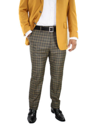 Checkered Slim Fit Pants- Black and Gold csfpblkgold