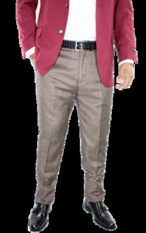 Checkered Slim Fit Pants- Burgundy csfpburgundy