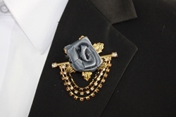 Flower Chain Lapel - Charcoal FCL-Charcoal