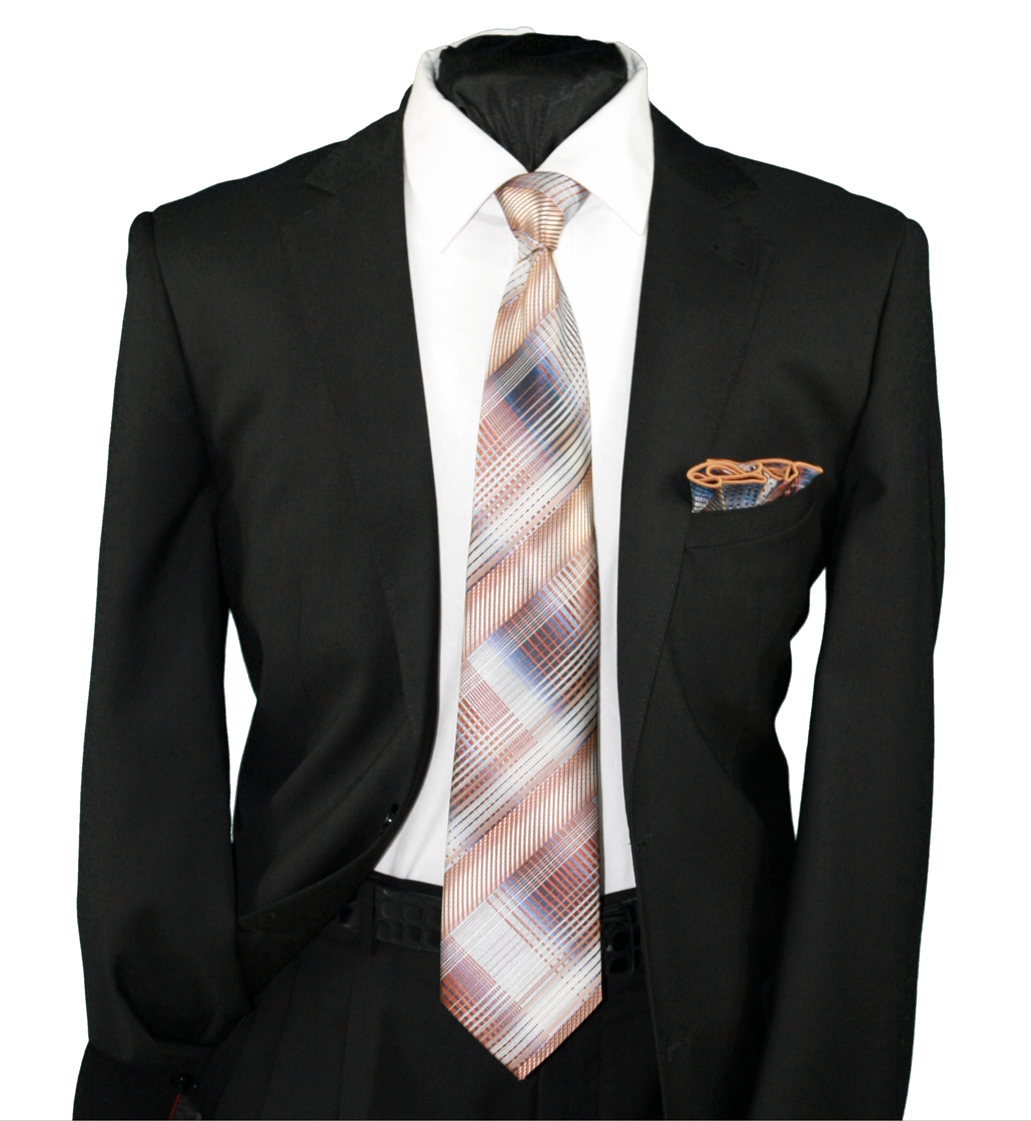 High Definition Tie with Round Hanky-19106 HDMWTR-19106