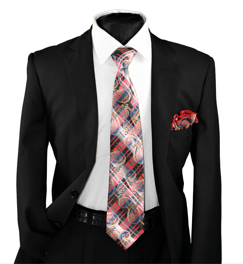 High Definition Tie with Round Hanky-19109 HDMWTR-19109