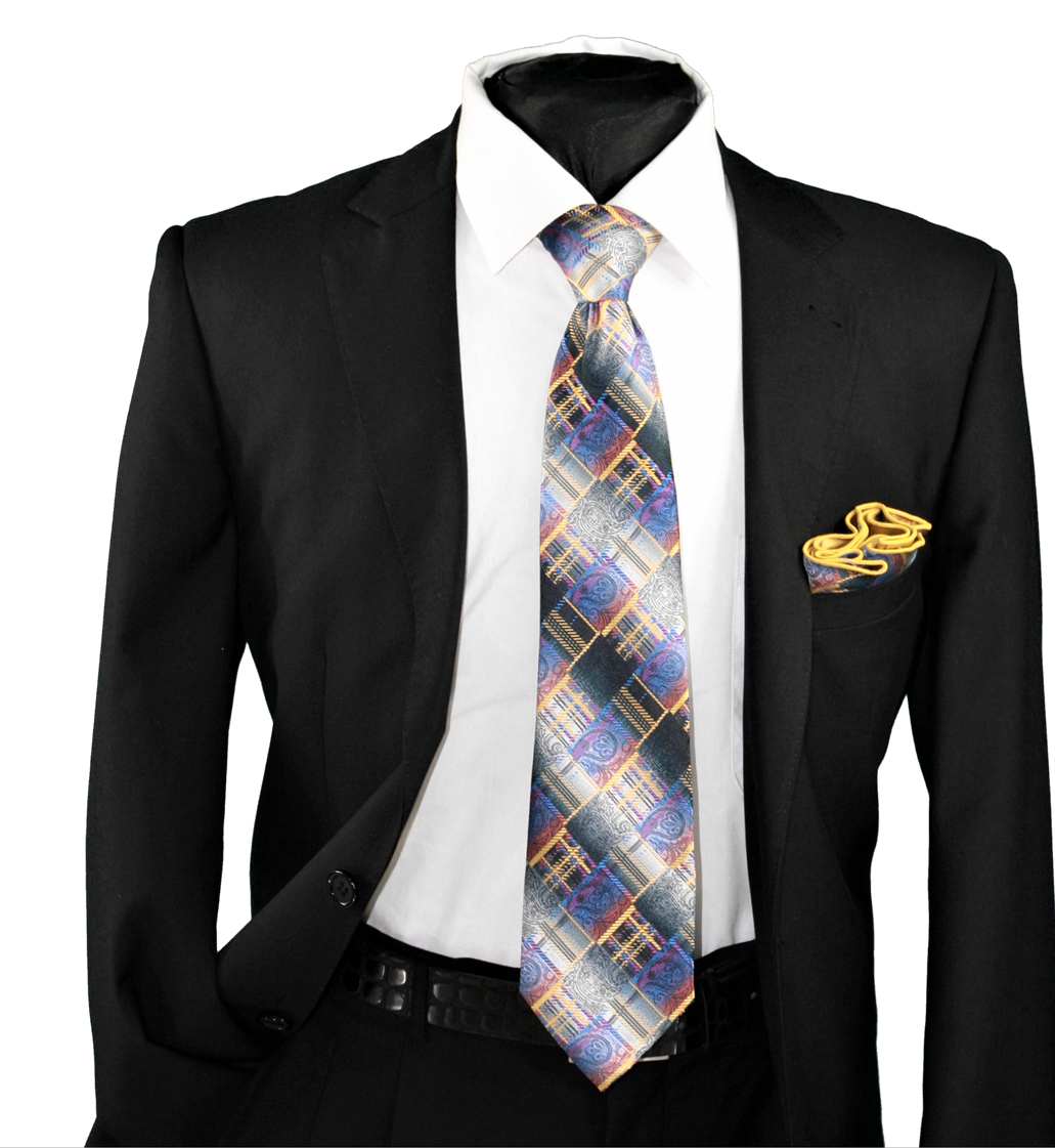 High Definition Tie with Round Hanky-19110 HDMWTR-19110