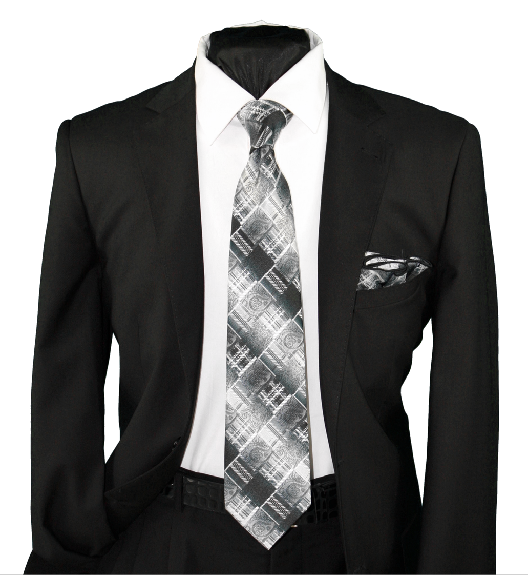 High Definition Tie with Round Hanky-19111 HDMWTR-19111