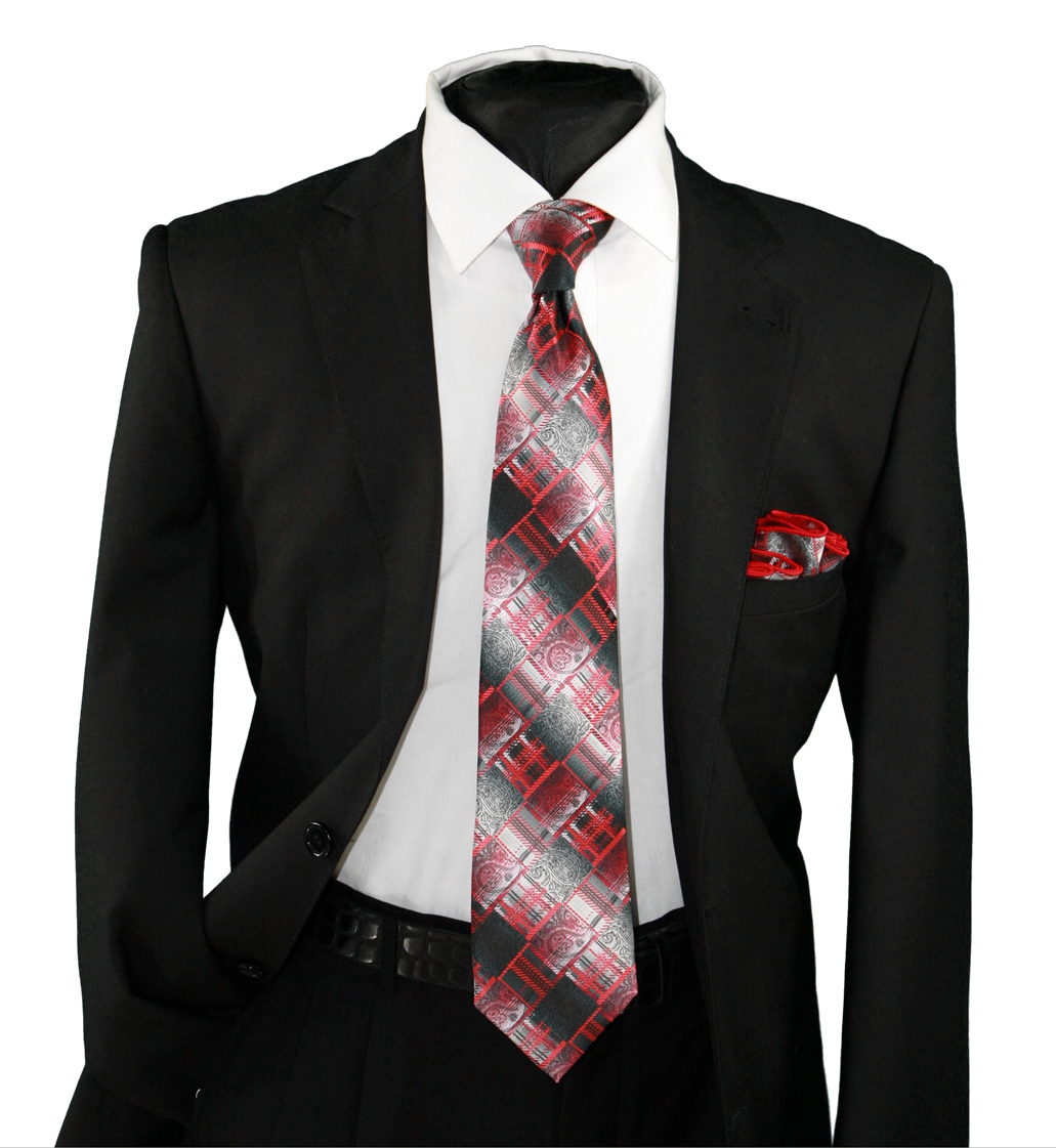 High Definition Tie with Round Hanky-19112 HDMWTR-19112