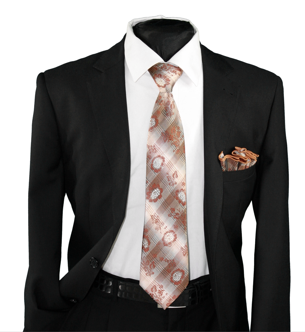 High Definition Tie with Round Hanky-19113 HDMWTR-19113