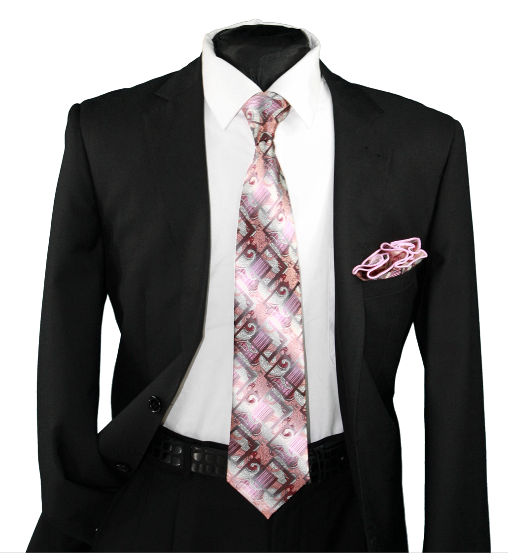 High Definition Tie with Round Hanky-19115 HDMWTR-19115