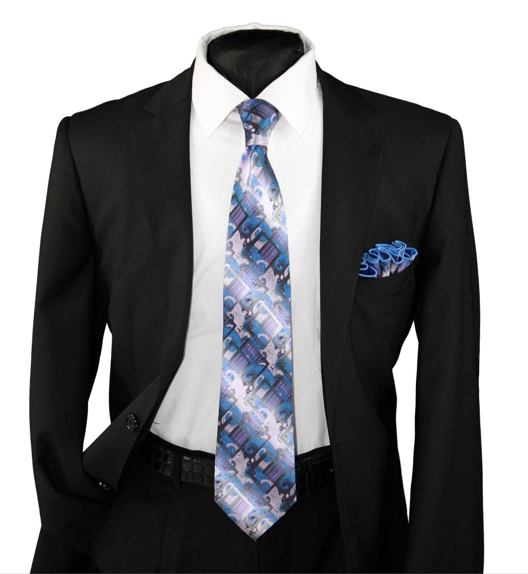High Definition Tie with Round Hanky-19116 HDMWTR-19116