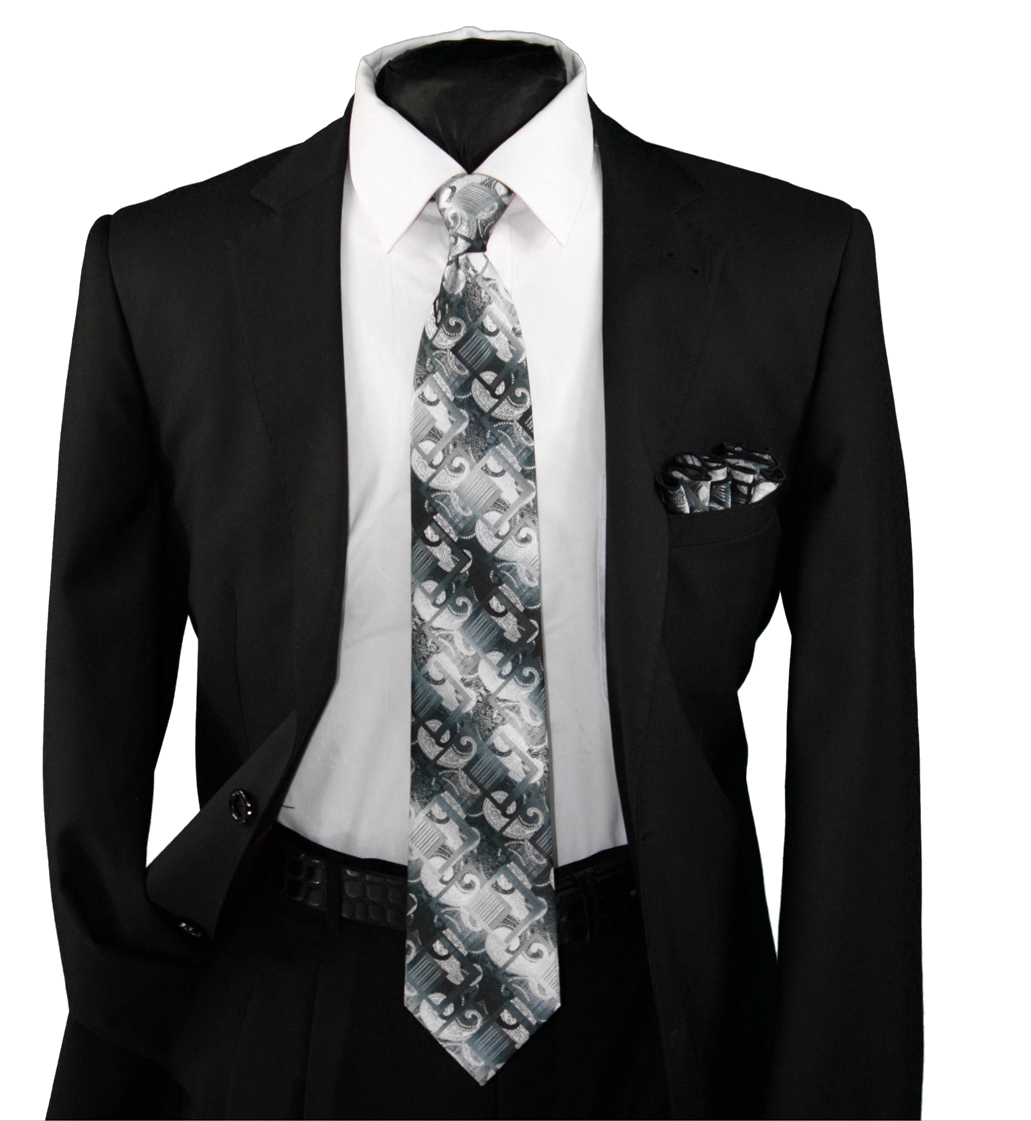 High Definition Tie with Round Hanky-19117 HDMWTR-19117
