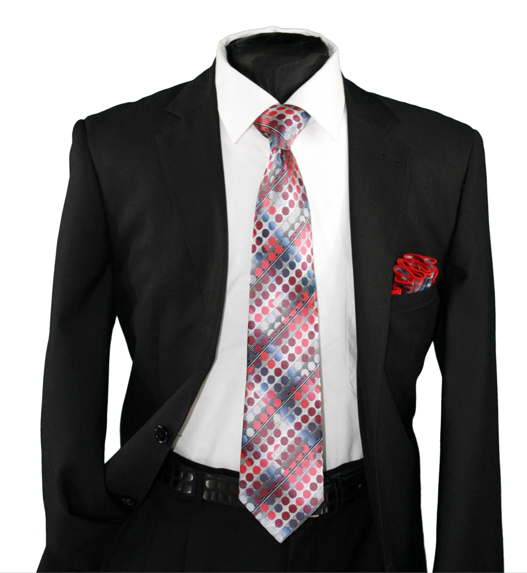 High Definition Tie with Round Hanky-19118 HDMWTR-19118
