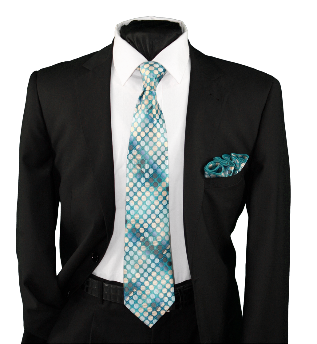 High Definition Tie with Round Hanky-19119 HDMWTR-19119