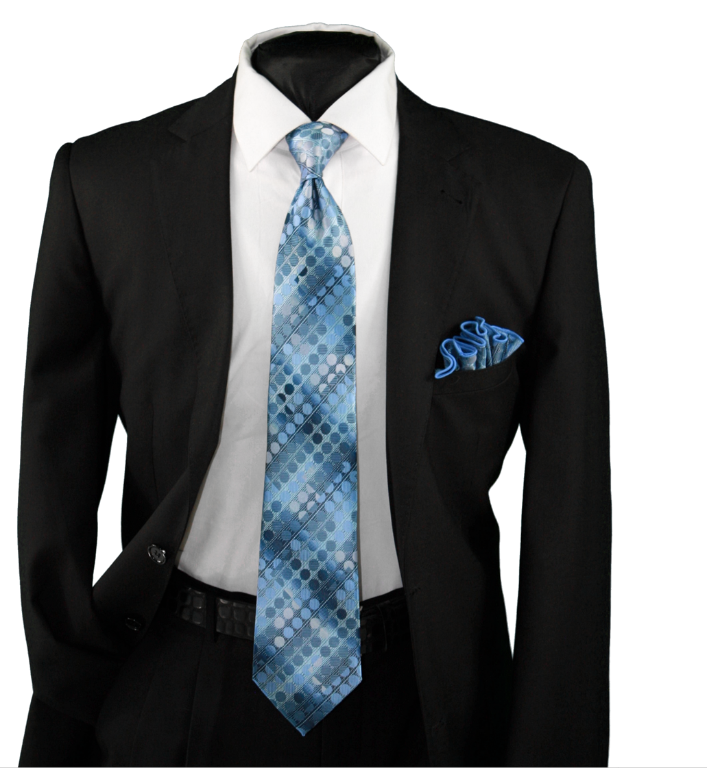 High Definition Tie with Round Hanky-19120 HDMWTR-19120
