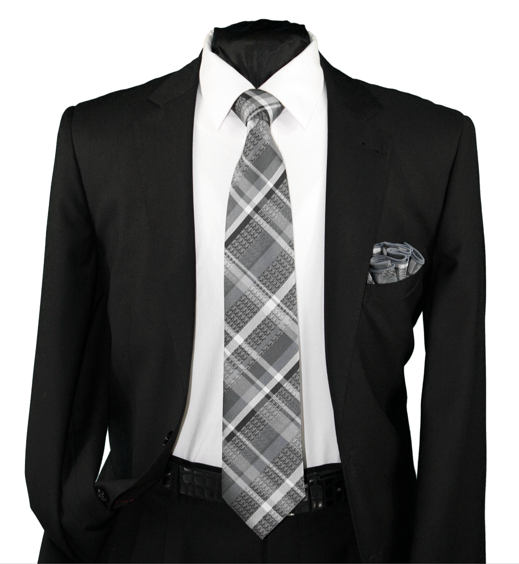 High Definition Tie with Round Hanky-19122 HDMWTR-19122