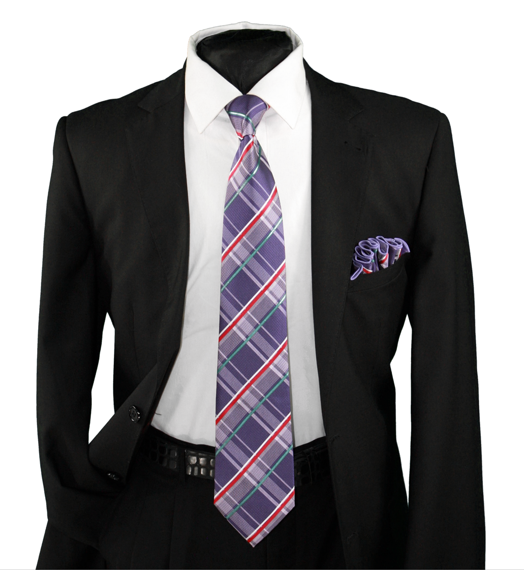 High Definition Tie with Round Hanky-19125 HDMWTR-19125
