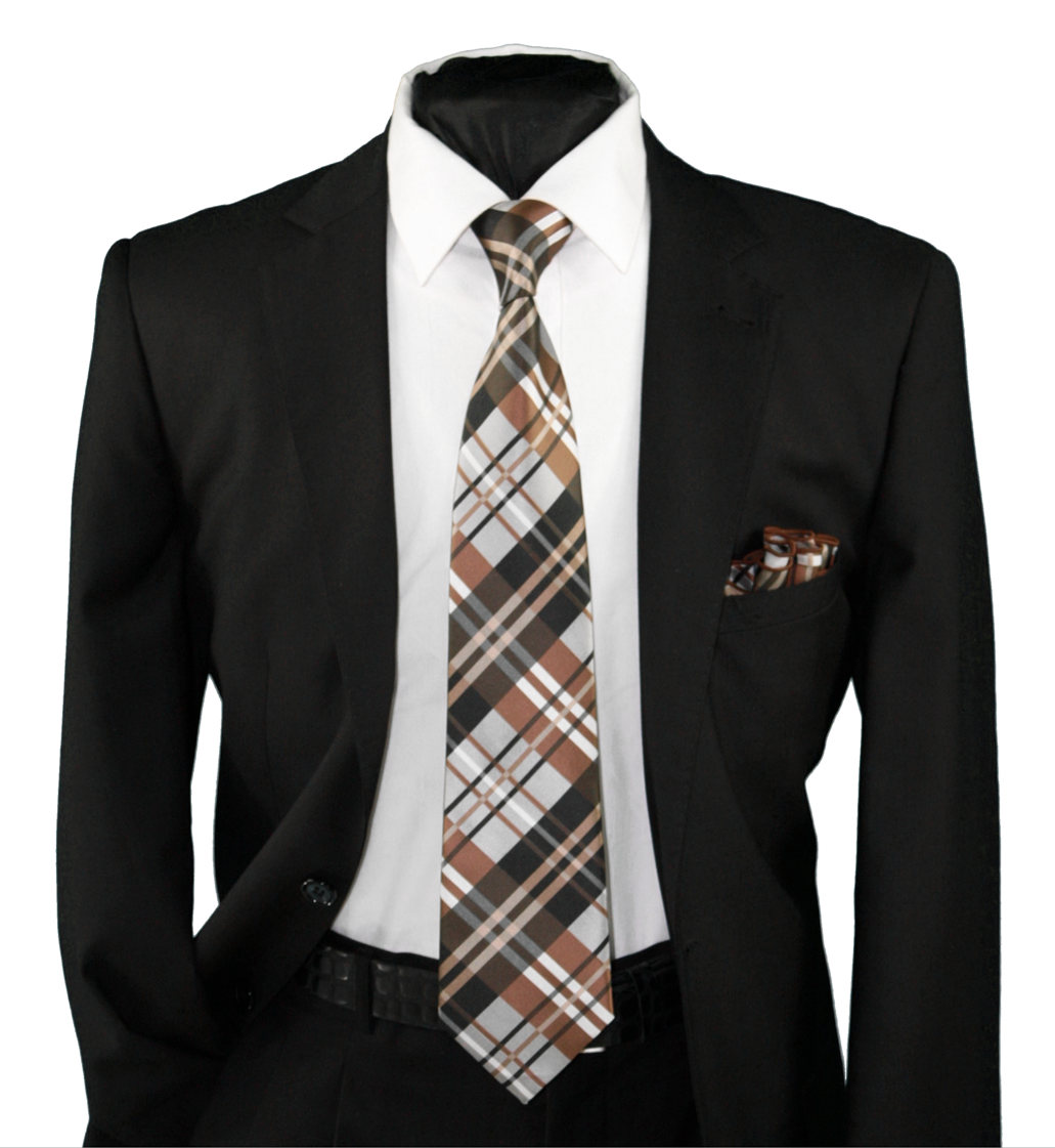 High Definition Tie with Round Hanky-19127 HDMWTR-19127