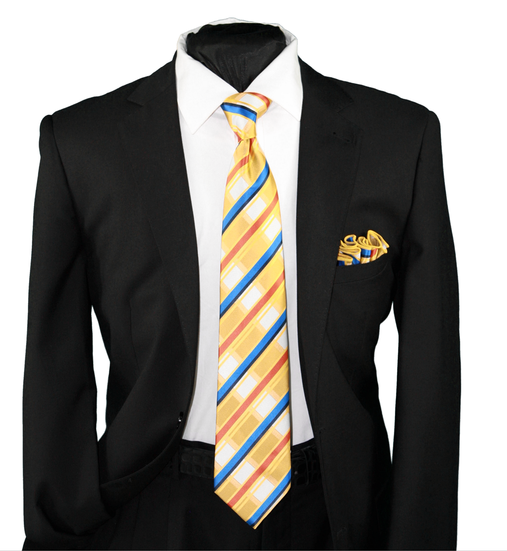 High Definition Tie with Round Hanky-19128 HDMWTR-19128