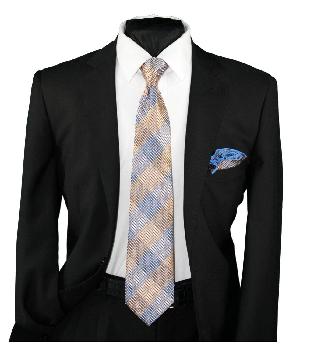 High Definition Tie with Round Hanky-19132 HDMWTR-19132