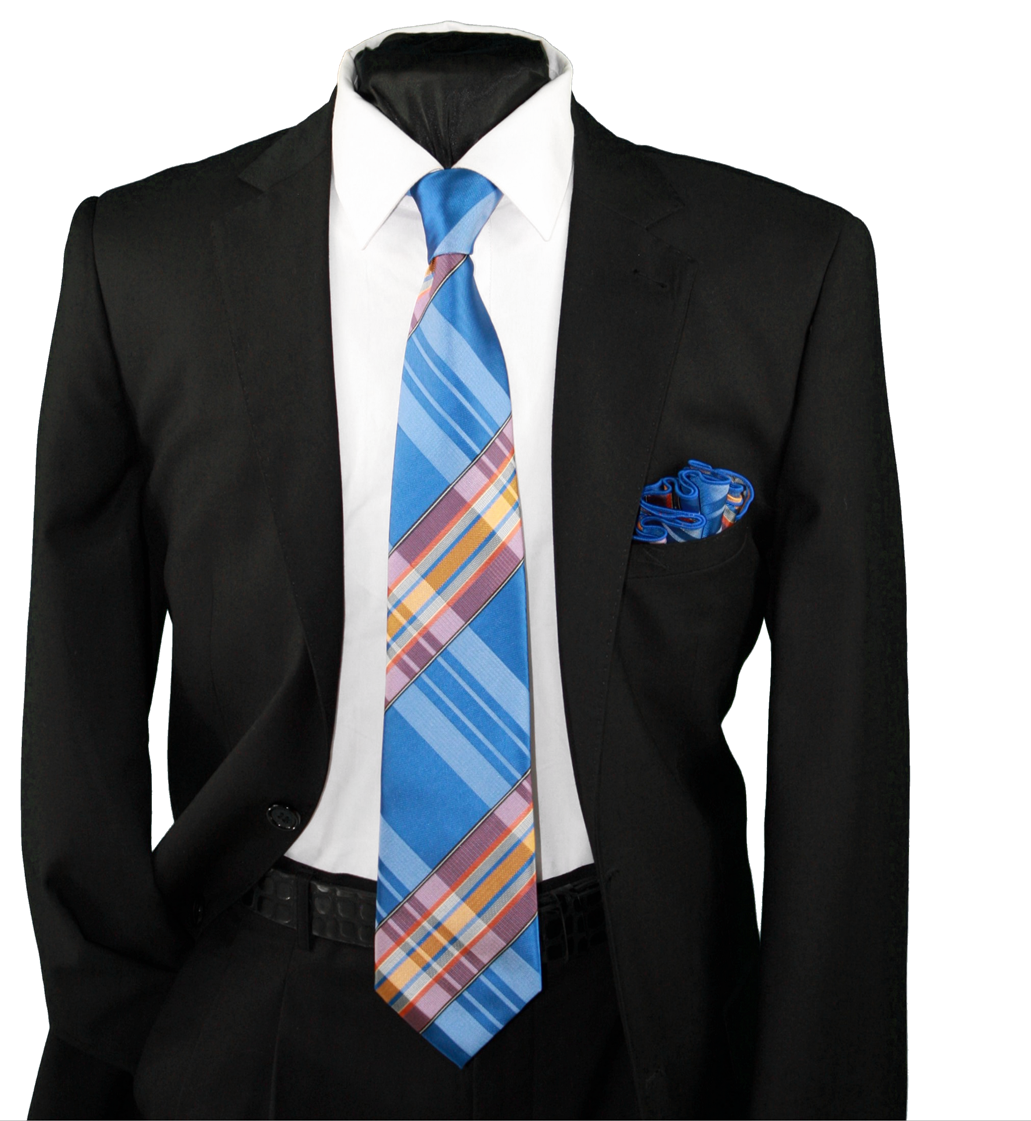 High Definition Tie with Round Hanky-19134 HDMWTR-19134