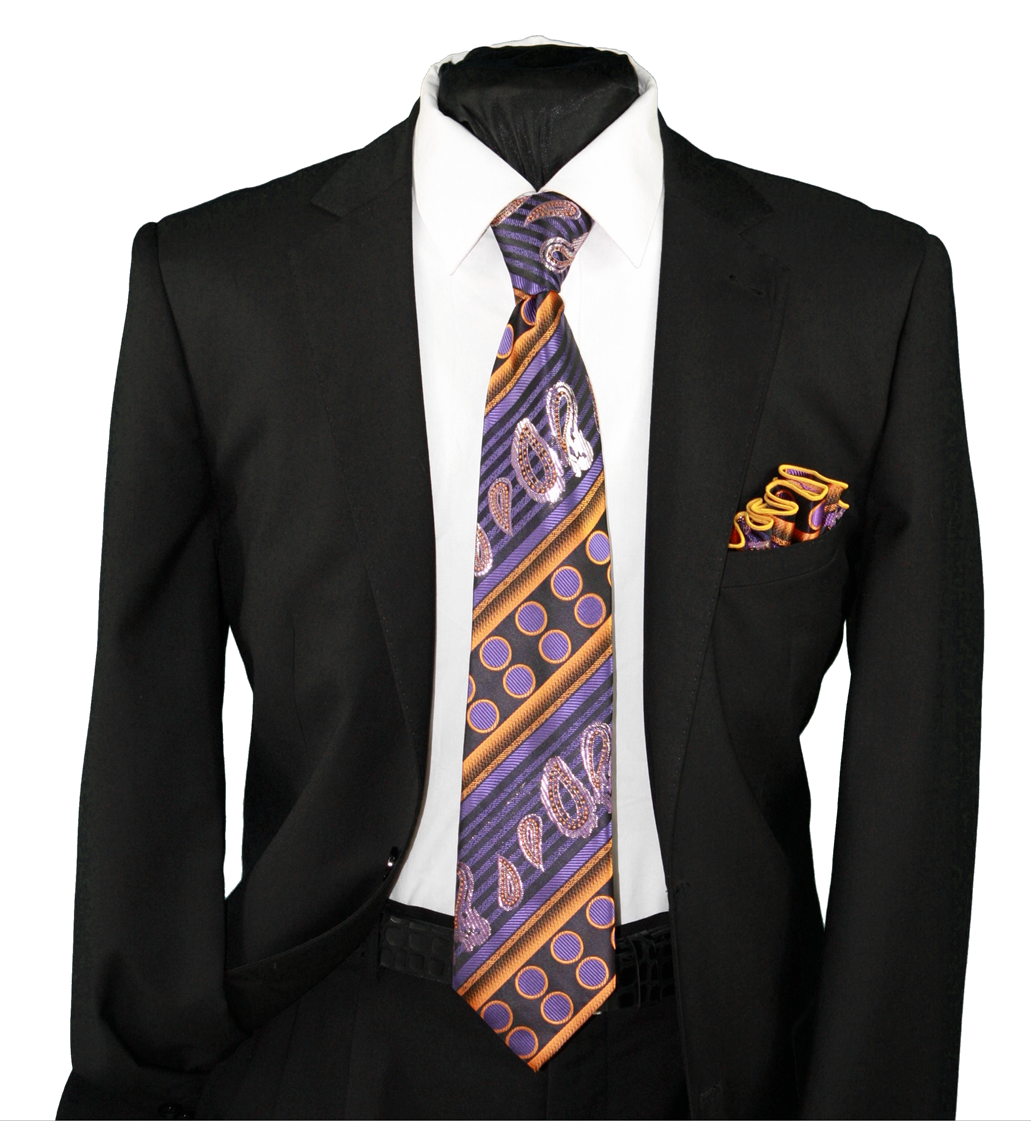 High Definition Tie with Round Hanky-19135 HDMWTR-19135