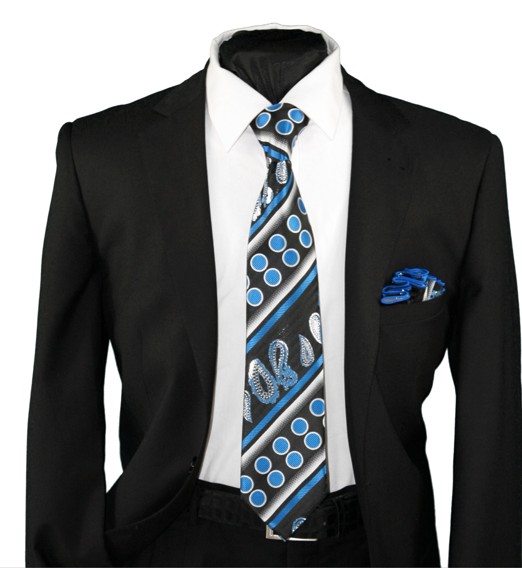 High Definition Tie with Round Hanky-19136 HDMWTR-19136