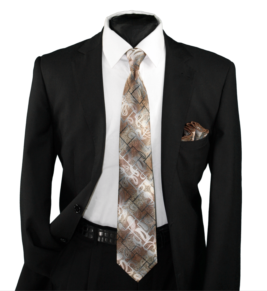 High Definition Tie with Round Hanky-19137 HDMWTR-19137