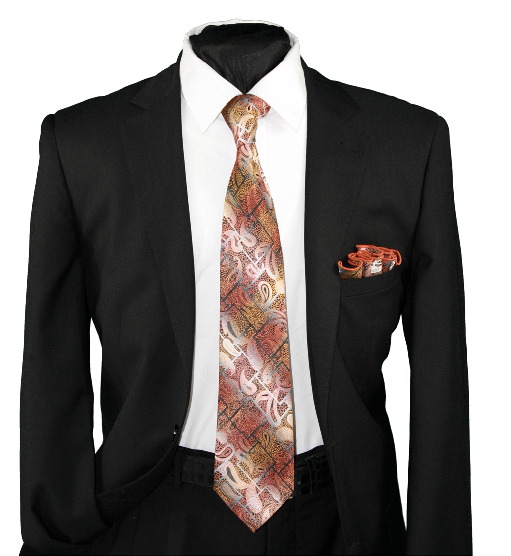 High Definition Tie with Round Hanky-19138 HDMWTR-19138