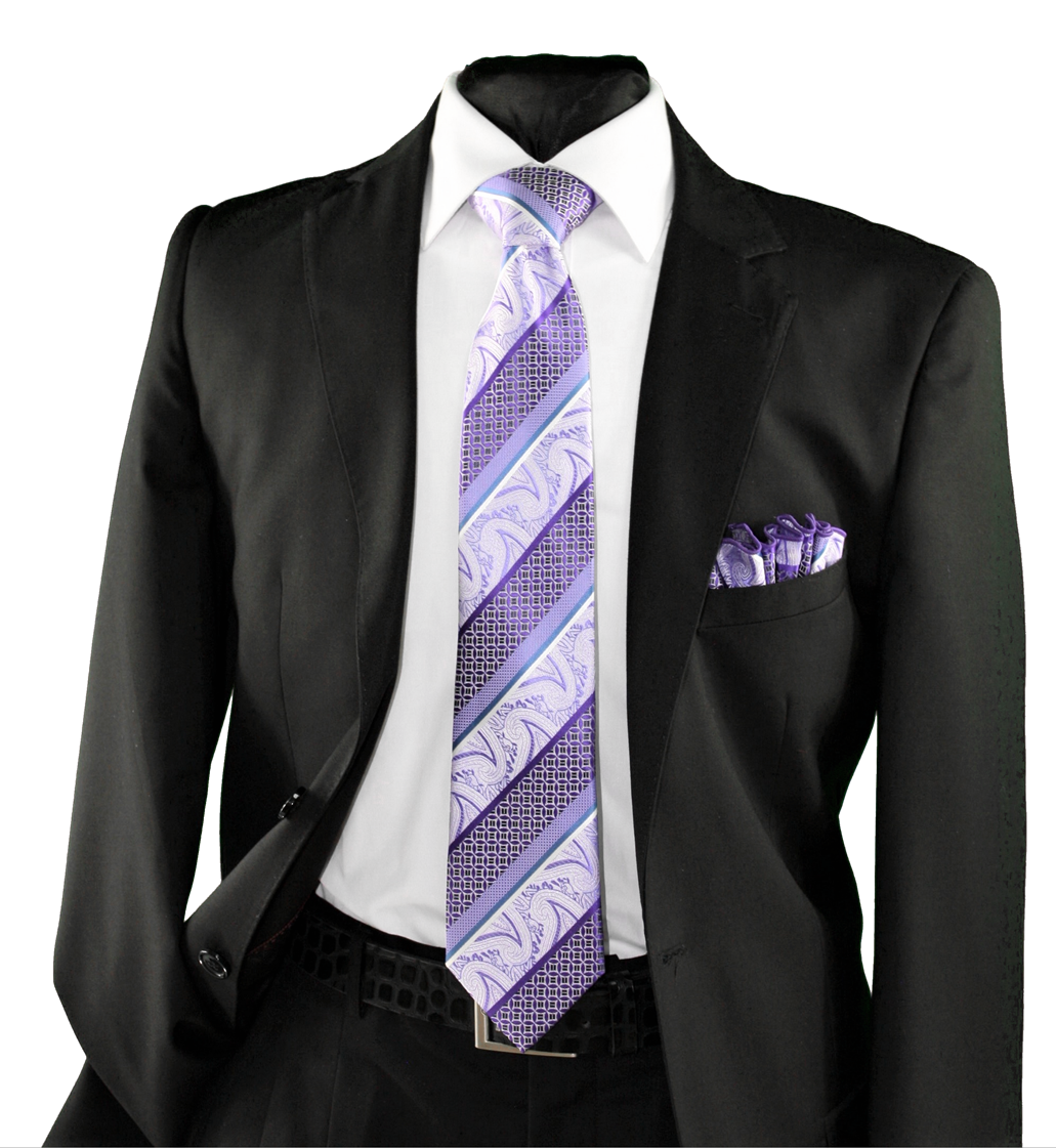 High Definition Tie with Round Hanky-19141 HDMWTR-19141