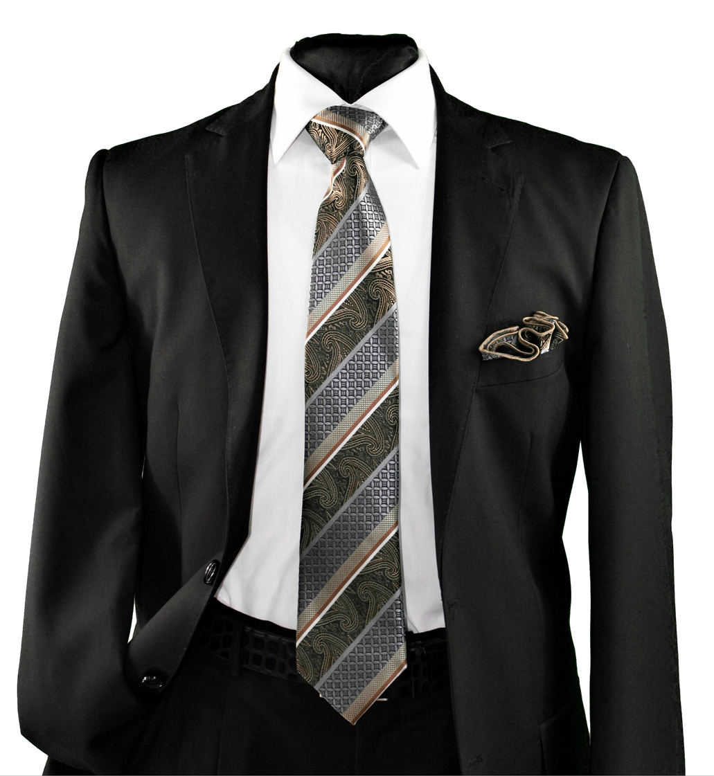 High Definition Tie with Round Hanky-19142 HDMWTR-19142
