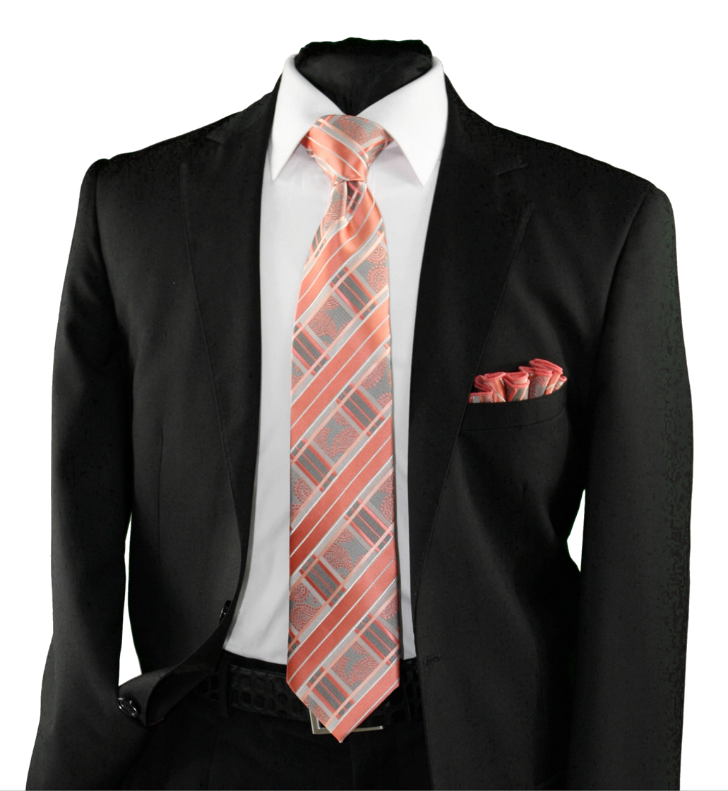 High Definition Tie with Round Hanky-19156 HDMWTR-19156