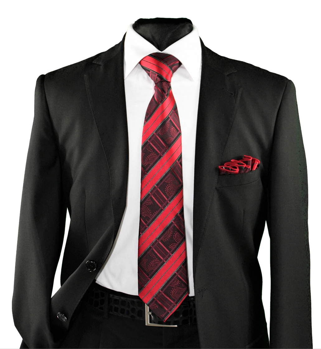 High Definition Tie with Round Hanky-19158 HDMWTR-19158