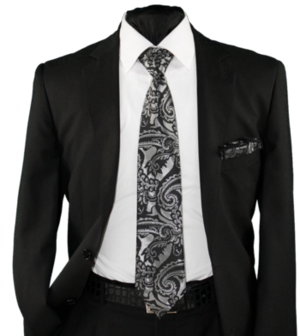High Definition Tie with Round Hanky-19001 HDMWTR-19001