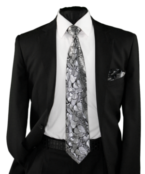 High Definition Tie with Round Hanky-19003 HDMWTR-19003