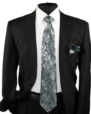 High Definition Tie with Round Hanky-19004 HDMWTR-19004