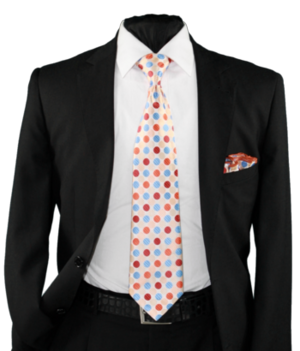 High Definition Tie with Round Hanky-19007 HDMWTR-19007