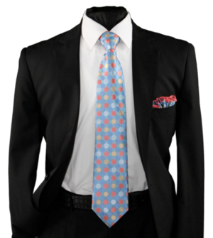 High Definition Tie with Round Hanky-19009 HDMWTR-19009