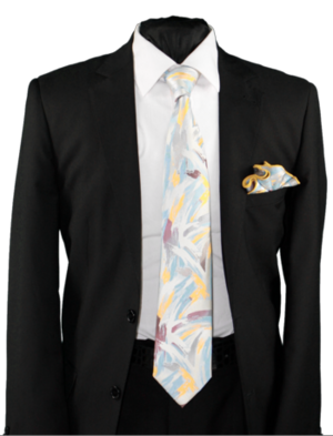 High Definition Tie with Round Hanky-19010 HDMWTR-19010