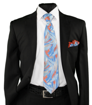 High Definition Tie with Round Hanky-19011 HDMWTR-19011